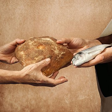 24943866 - jesus gives bread and fish on beige background