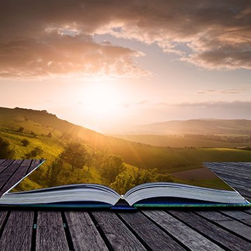15521131 - creative composite image of summer landscape in pages of magic book